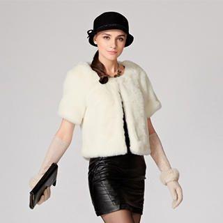 O.SA - Short-Sleeve Faux-Fur Jacket