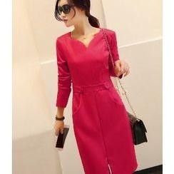 Romantica - 長袖飾腰帶連衣裙