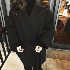 氣質淑女 - 純色毛呢和服夾克