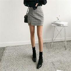 ZIZIBEZIRONG - Slit-Front Check Skirt