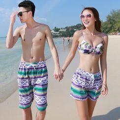 Aqua Wave - 情侣款图案游泳短裤