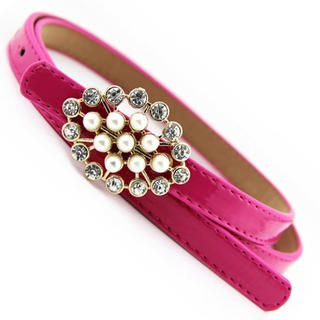 Cuteberry - Beaded-Buckle Slim Belt