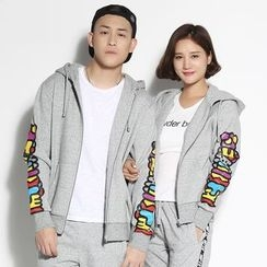 HappyTee - Lettering Hooded Couple Jacket