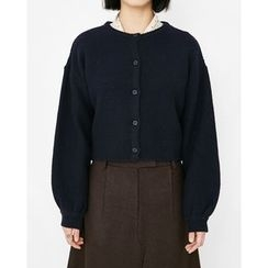Someday, if - Puff-Sleeve Cropped Wool Blend Cardigan