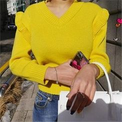 LIPHOP - V-Neck Frill-Trim Knit Top