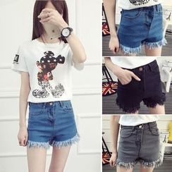 Nassyi - Frayed Denim Shorts