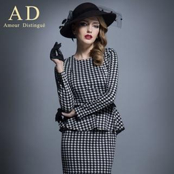 Aision - Long-Sleeve Peplum Sheath Dress