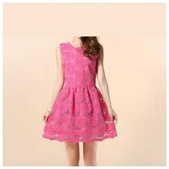 Strawberry Flower - Sleeveless Embroidered Organza Dress