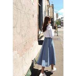 CHERRYKOKO - Washed Denim A-Line Midi Skirt