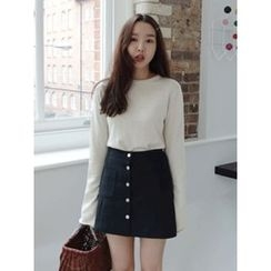 maybe-baby - Round-Neck Knit Top