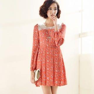 Moonbasa - Lace Yoke Floral Dress