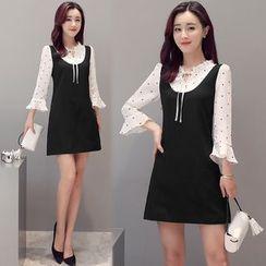 Rosehedge - Polka Dot Mock Two-Piece Dress
