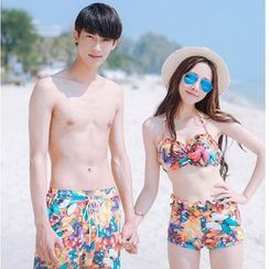 AITE - Couple Matching Set: Butterfly Print Bikini + Beach Cover-Up + Men Swim Trunks