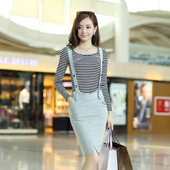 Mooiee - Set: Long-Sleeve Striped T-Shirt + Suspender Skirt