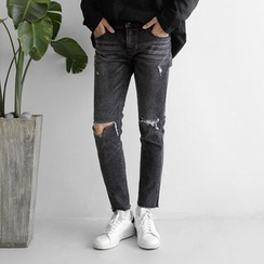 Seoul Homme - Distressed Straight-Cut Jeans