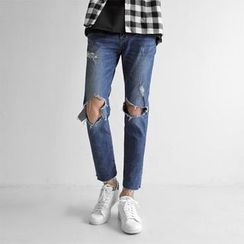 Seoul Homme - Cutout-Knee Straight-Cut Jeans