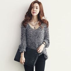 NANING9 - Boat-Neck Mélange Sweater