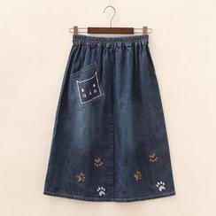 Waypoints - Embroidered Denim Midi Skirt