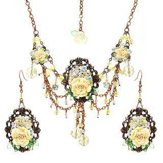 Fit-to-Kill - Unique romantic yellow rose choker & earrings set