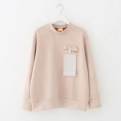 Meimei - Mock-neck Faux Suede Sweatshirt