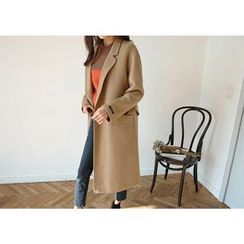 Hello sweety - Wool Blend Long Coat with Sash