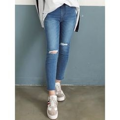 LOLOten - Band-Waist Distressed Skinny Jeans