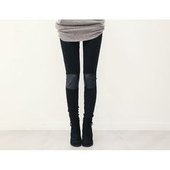 DANI LOVE - Faux-Leather Knee-Patch Leggings