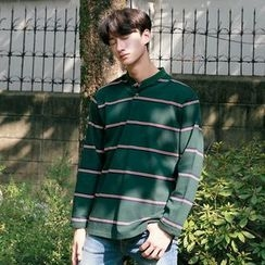 Seoul Homme - Collarless Striped Polo Shirt