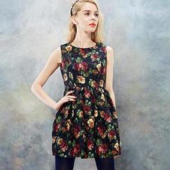 ELF SACK - Floral Sleeveless A-Line Dress