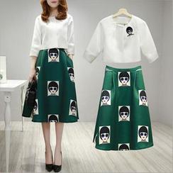lilygirl - Set: 3/4 Sleeve Top + Cartoon Print Midi Skirt