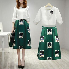 lilygirl - Set: 3/4 Sleeve Top + Cartoon Print Midi Skirt