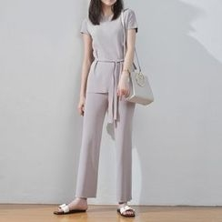 TAILO - Set: Short-Sleeve Cutout-Back Top + Pants