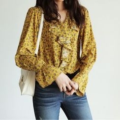 Jolly Club - Bell-Sleeve Floral Ruffle Blouse