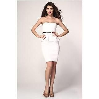 Sexy Romantie - Strapless Peplum Sheath Dress