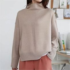 CHICFOX - Mock-Neck Drop-Shoulder Knit Top
