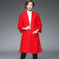 Y:Q - Faux Pearl Embellished Wool Blend Coat