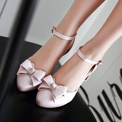 Sidewalk - Bow Chunky Heel Pointy Pumps