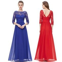 Ever Pretty - 3/4-Sleeve Lace Panel Evening Gown