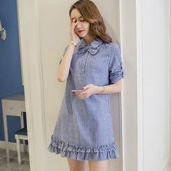 Cherry Dress - Pinstripe Bow Short-Sleeve Shirtdress