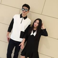 AJIEJIA - Couple Matching Color Panel Long Sleeve Dress / Half Zip Collared Long Sleeve Polo Shirt
