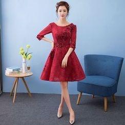 Loree - Elbow-Sleeve Cocktail Dress