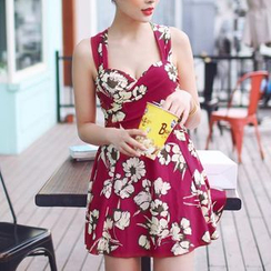 Jumei - Sleeveless Floral Swimdress