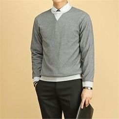 THE COVER - Round-Neck Contrast-Trim Pullover