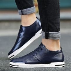 Preppy Boys - Perforated Lace-Up Sneakers