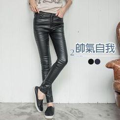 OrangeBear - Fleece Lined Faux Leather Skinny Pants