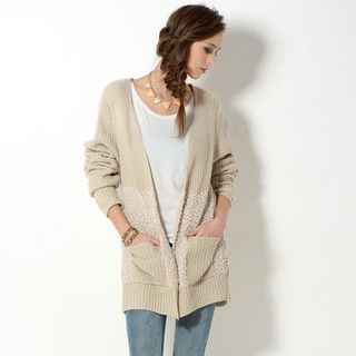 YesStyle Z - Nubby Knit Panel Open-Front Cardigan