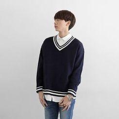 Seoul Homme - Striped V-Neck Knit Top