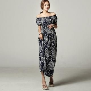 SARAH - Off-Shoulder Floral Print Maxi Dress