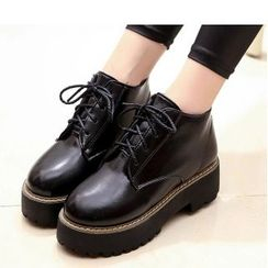 艾美鞋坊 - 繫帶厚底平跟鞋