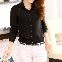 Swish - Metal-Tipped Collar Long-Sleeve Blouse